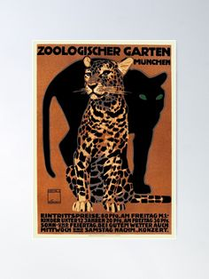 """""""1912 Ludwig Hohlwein Leopard Munich Zoo Poster"""" Poster by retrographics 