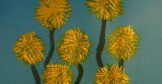 Spring crafts for kids - fork printed dandelions #springcraftsforkids #springcrafts #craftsforkids