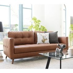 Marseille leather three seater sofa tan Sofa Bed, Couch, Three Seater Sofa, Corner Sofa, Leather Cover, Sofa Design, Living Room Designs, Sofas, Armchair