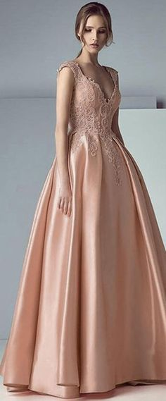 Elegant Satin V-neck Neckline Ball Gown Prom Dresses With Beaded Lace Appliques & Pleats
