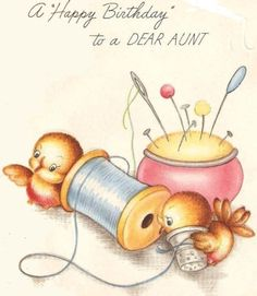 A happy birthday to a dear aunt. #sewing #birds #vintage #birthday #card #cute