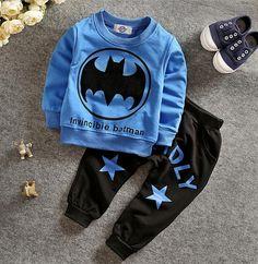 11.28$  Buy now - http://alittu.shopchina.info/go.php?t=32788345788 - new 2017 girls clothing sets baby  boy wear baby boy clothes  boys batman clothing set kids suit t-shirt+pants for girl 2T-5T 11.28$ #magazine
