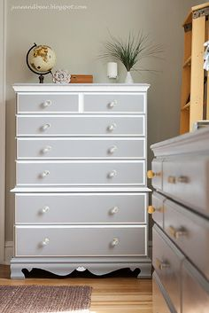 Grey and white dresser...maybe I could do something like this for the hubby's dresser.
