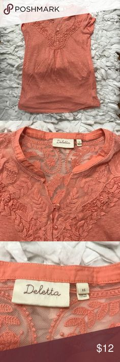 Anthropologie Deletta Coral Shirt Cute lace back detail. Beautiful coral color. EUC. Size xs Tops