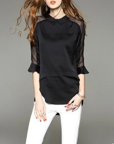Black 3/4 Sleeve Ruffle Lace Paneled Silk Blouse