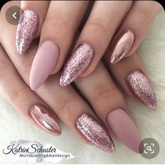 10 Elegant Rose Gold Nail Designs That You Should Try , . : 10 Elegant Rose Gold Nail Designs That You Should Try , White Gel Nails, Cute Pink Nails, Glittery Nails, Rose Gold Nails, Fun Nails, Gold Glitter, Work Nails, Nail Pink, Gold Nail Designs
