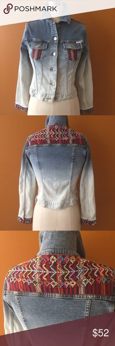 Denim Embroidery Style Jacket! Very cool! Vintage piece measures 29 inches from armhole to wrist, 20 inches shoulder to hem. 32 in bust. Good condition just has some light gray marks and light mauve markings. Fits a small. Buffalo David Bitton Jackets & Coats Jean Jackets