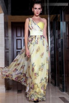 Amazing One Shoulder Tencel Floral Imprint Prom Evening Dress