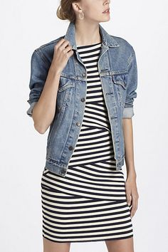 Modern striped fitted dress and denim jacket