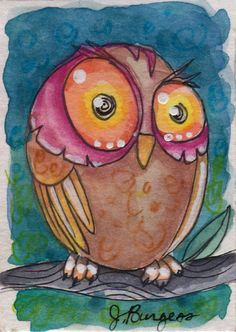 watercolor owl SLEEPY miniature painting ACEO signed original by J.Burgess