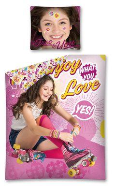 Różowa pościel dla dziecka z dziewczynką na rolkach