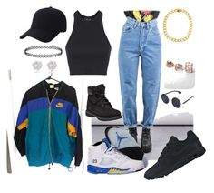 """""""90's [party?]"""" by pervalot on Polyvore featuring Topshop, NIKE, Timberland, Keds, River Island, Kenneth Cole and Glamorous"""