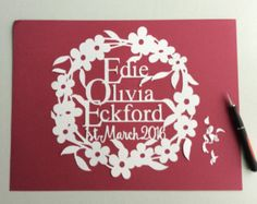 Personalised Papercut for Births, Marriage, Anniversaries, special occasions. Paper Cut Design, Births, Birthday Design, Paper Cutting, New Baby Products, Special Occasion, Marriage, Pdf, Colour