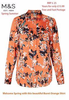 283c9b0637b M&S ladies BURNT ORANGE BLACK FLORAL Shirt Marks Spencer BLOUSE tunic top  10-18
