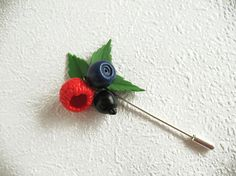 Brooch needle Berry mix Pin Jewelry with berries Brooch with