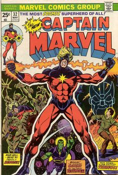 "Captain Marvel Marvel Comics, May ""Thanos the Insane God!"" Cover by Jim Starlin and Klaus Janson. Story by Mike Friedrich, Jim Starlin, and Dan Green. Features the origin of Drax the Destroyer. Marvel Comics, Marvel Comic Books, Marvel Characters, Comic Books Art, Marvel 3, Book Art, Thanos Marvel, Fictional Characters, Drawing Cartoon Characters"
