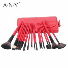 13.41$  Watch here - http://ali59x.shopchina.info/go.php?t=32725655641 - ANY Red Wooden Handle Nylon Hair Makeup Brush Set 18PCS Cosmetic Facial Make Up Brushes Set Toolsl In Leather Bag  #SHOPPING