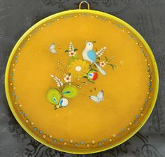 Vintage Signed SERMEL Mexican Folk Art Hand Painted Tin Plate 10-1/2 inches