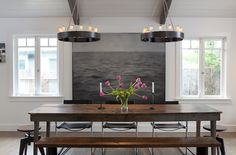 10 chandeliers that are dining room statement makers. modern rustic dining table update with urban home Wooden Dining Tables, Dining Room Chairs, Dining Area, Dining Rooms, Wood Table, Table Bench, Rustic Table, Farmhouse Table, Table Seating