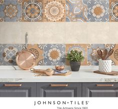 With a soft concrete screed design, the Arena matches urban chic with trendy forward encaustic inspiration. Mix and match to create your unique look. See more from our Urban Collection™ on our website. #tile #tiledesign #urban #interiordesign #homedecor #cement #encaustic Wall And Floor Tiles, Wall Tiles, Tile Patterns, Print Patterns, Johnson Tiles, Modern Spaces, Spanish Style, Glazed Ceramic, Tile Design