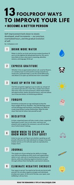 Love this simple list. All of these are applicable on how to become a better in anything. 13 Foolproof Ways to Improve Your Life + Become a Better Person Infographic, Self-Improvement, Health: Be A Better Person, Better Life, Better Person Quotes, Good Person, Feel Better, Motivacional Quotes, Smart Quotes, Work Quotes, Success Quotes