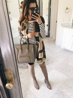 Emily Ann Gemma from The Sweetest Thing looks gorgeous in this leopard scarf! Cute Fall Fashion, Cute Fall Outfits, Fall Fashion Outfits, Fall Winter Outfits, Classy Outfits, Fashion 2017, Autumn Winter Fashion, Fashionable Outfits, Winter Style