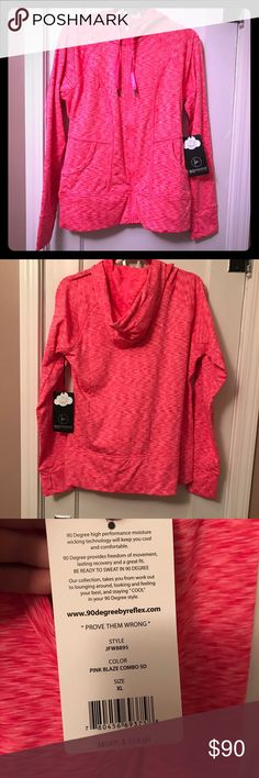 NWT 90 Degrees Jacket NWT Hot heather pink jacket, full zip with hood.  Smooth on outside but fuzzy fleece lining inside. Super cute and comfy! 90 Degrees by Reflex Jackets & Coats
