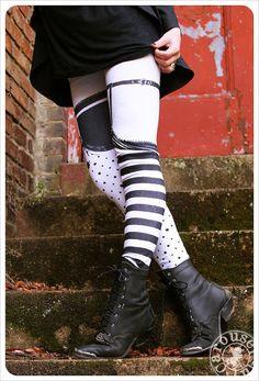 Pippi Garter Legging - Striped Legwear - Polka Dot Striped Tights - xLARGE Legging Womens Tights