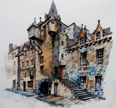 Edinburgh #oldtown #tolbooth #sketch #canongate #urbansketch #urbanart #citysketch #usk #art_collective #artsanity #architecturefactor…