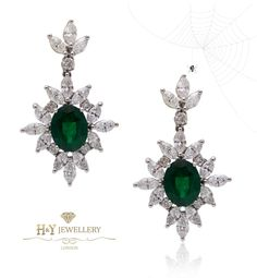 White Gold Earring With Pear Cut Emerald With Marquise And Brilliant Cut Diamonds #emerald #jewellery #diamonds #earrings #winter #chic #elegant #christmas #xmas