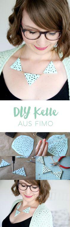 DIY Idee zum Selbermachen: Kette mit Dreiecken aus Fimo