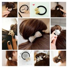 Lovef 6pcs Full Pearl with Crystal Rhinstone Flower Heart Bow Design for Baby Kids Children Girl Women Hair Accessories Elastic Tie Ponytail Holders Hair Rope Rubber Bands Accessories -- For more information, visit image link.