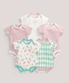 Girls Essentials Five Pack of Birds Bodysuits - Rompers   Bodysuits - Mamas & Papas