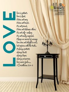 Love is Patient - Vinyl Wall Decal Sticker Art - Bible Wall Art on Etsy, $44.95