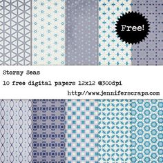 Stormy Seas - Free Digital Paper Pack...Blue, grey, dusky purple. 10 High resolution digital papers. Photoshop Pattern file with all 10 patterns used in these papers 12 x 12 inches @ 300 dpi. Download the goodies through Google drive. All of the papers are uploaded individually, feel free to grab one, or them all. Free for personal and commercial use – please see our terms