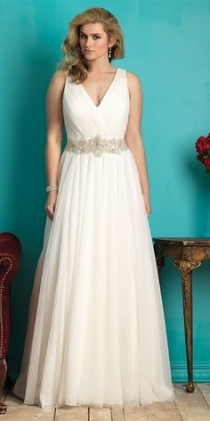Allure v neck plus size wedding dress