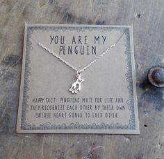 you are my penguin necklace . silver layering necklace . gift for girlfriend gift for wife