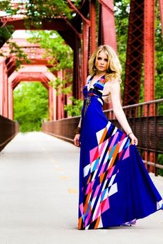 Azure Aztec Braided Halter Jersey Glam Gown by MJVOCouture