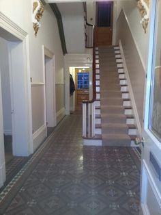 Tiles stair carpet gold embellishment