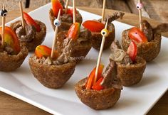 Stuffing kibbeh shells with shawarma makes a delicious bite-size appetizer!