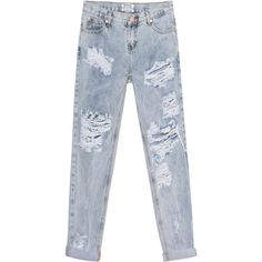 One Teaspoon Awesome Baggies Blue Malt // Destroyed boyfriend jeans ($180) ❤ liked on Polyvore featuring jeans, pants, boyfriend crop jeans, baggy jeans, distressed jeans, torn boyfriend jeans and ripped boyfriend jeans