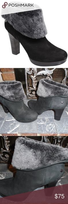 UGG DANDYLION BLACK SUEDE BOOTS ~ 10 ~ $225 ~ UGG DANDYLION boots ~ size 10 Soft plush lining Logo on the side and the bottom sole Comfortable padded insole and detailed rubber sole Good condition with normal wear....there is a mark on the bottom of one sole UGG Shoes Ankle Boots & Booties
