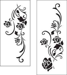 Arabesque of roses. Stencil arabesque (ref Stencil Patterns, Stencil Painting, Stencil Designs, Fabric Painting, Stenciling, Fabric Paint Designs, Custom Stencils, Carving Designs, Border Design