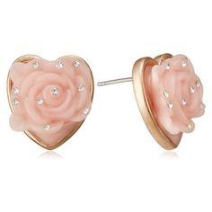[ベッツィー・ジョンソン] Betsey Johnson ER HEART ROSE STUD B09991-E01 ❤ liked on Polyvore featuring jewelry, earrings, betsey johnson earrings, betsey johnson jewellery, heart jewellery, heart shaped earrings and betsey johnson jewelry