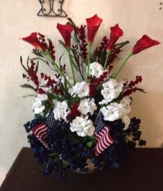 God Bless America! Memorial Day | Fourth of July Silk Flower Arrangement. Red, White and Blue!