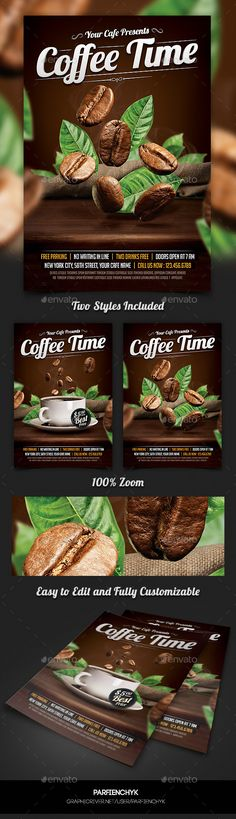#Coffee Time #Flyer Template - #Restaurant #Flyers Download here: https://graphicriver.net/item/coffee-time-flyer-template/10660733?ref=alena994