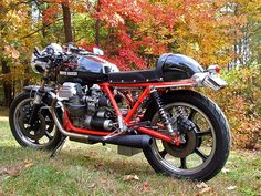 Guzzi T3-Just love the red frame and cafe styling.