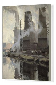 20x16 inch (51x41cm) ready to hang Box Canvas Print. XIR155342 Power Station at Croix-Wasquehal (oil on canvas) by Lety, Hippolyte (1878-1925); Musee des Beaux-Arts, Tourcoing, France; (add.info.: Croix Wasquehal in north France;); French, out of copyright   possible copyright restrictions apply, consult national copyright laws. . Image supplied by Fine Art Finder World History Teaching, World History Lessons, City Landscape, Landscape Paintings, Urban Landscape, Framed Prints, Poster Prints, Canvas Prints, Painting Gallery