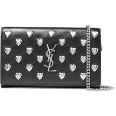 Saint Laurent Monogramme studded leather shoulder bag (90.260 RUB) ❤ liked on Polyvore featuring bags, handbags, shoulder bags, black, chain shoulder bag, studded leather purse, evening handbags, studded handbags and yves saint laurent purses