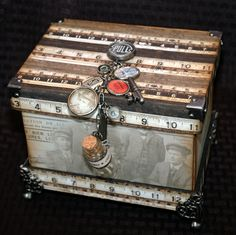 Layer It! ~ A Craft Hoarders Anonymous Challenge Altered Cigar Boxes, Altered Tins, Altered Art, Mixed Media Boxes, Cigar Box Crafts, Elephant Birthday, Decoupage Box, Friend Birthday Gifts, Gag Gifts